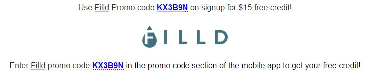Just enter Filld promo code KX3B9N for $15 free credit!
